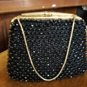 Vintage black beaded bag
